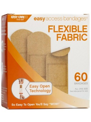 """Easy Access Bandages® Fabric, 1"""" x 3"""" Strips, 60 Count"""