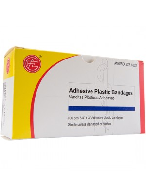 "Adhesive Plastic Bandage, 3/4"" x 3"", 100 pieces/box"