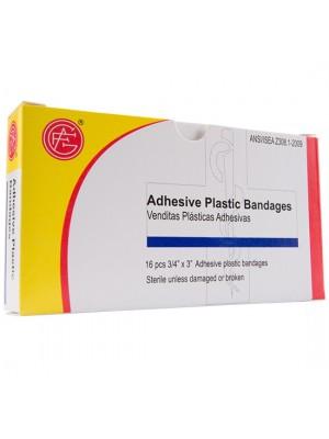 "Adhesive Plastic Bandage, 3/4"" x 3"", 16 pieces/box"