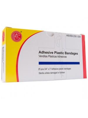 "Adhesive Plastic Bandage, 3/4"" x 3"", 25 pieces/box"