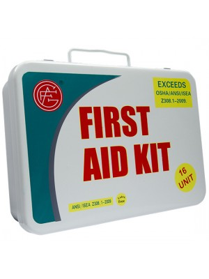 16 Unit Unitized Metal ANSI First Aid Kit