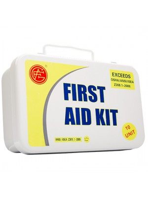 10 Unit Unitized Metal ANSI First Aid Kit