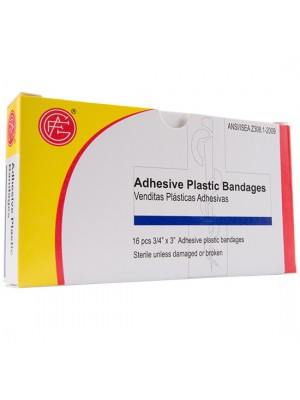 "Adhesive Plastic Bandage, 3/4"" x 3"", 16 pieces/box"