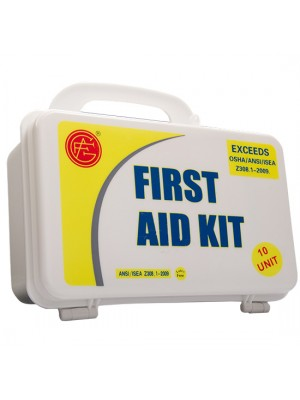 10 Unit Unitized Plastic ANSI First Aid Kit