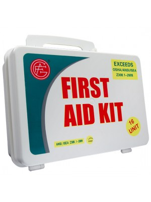 16 Unit Unitized Plastic ANSI First Aid Kit