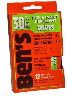 Ben's® 30 Tick & Insect Repellent Wipes 12/box